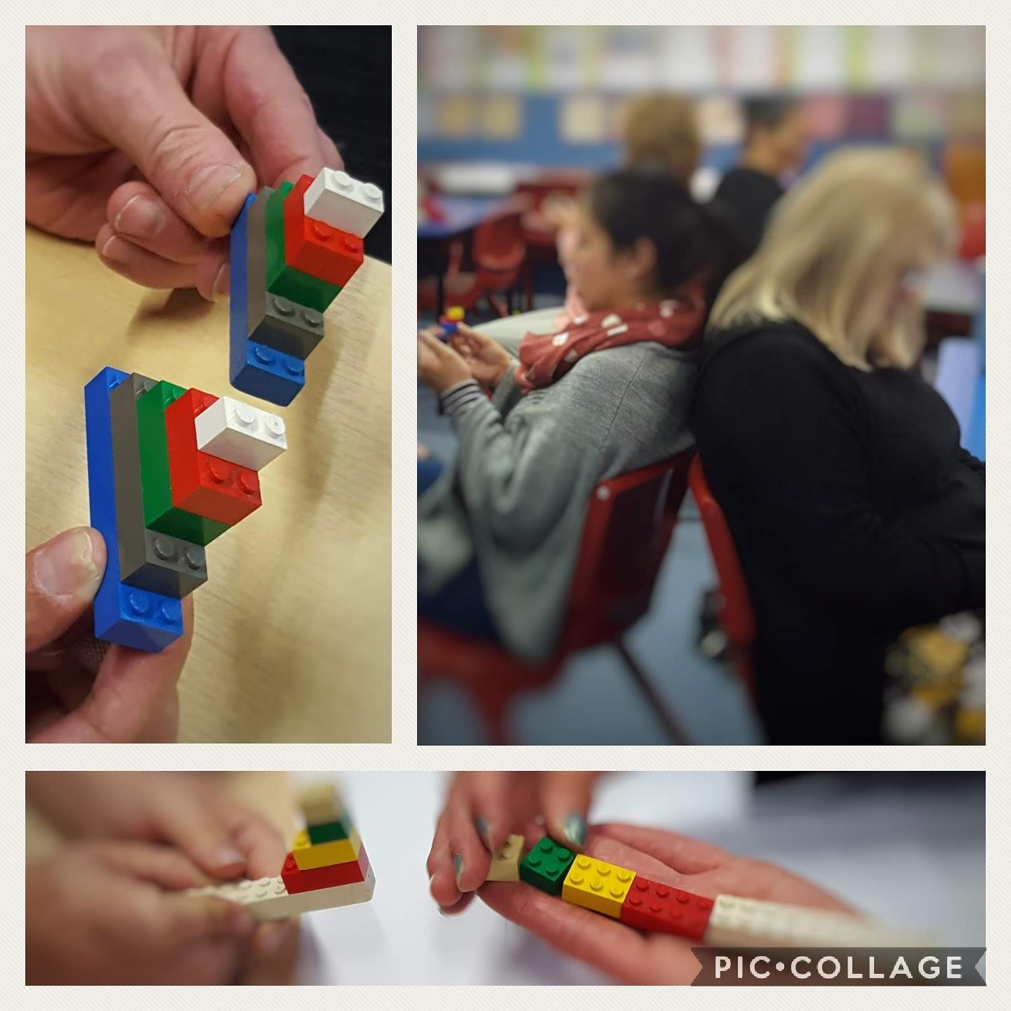 three images showing two people sitting back to back making a model with lego pieces. one image shows two models the same, the other shows two completely different models