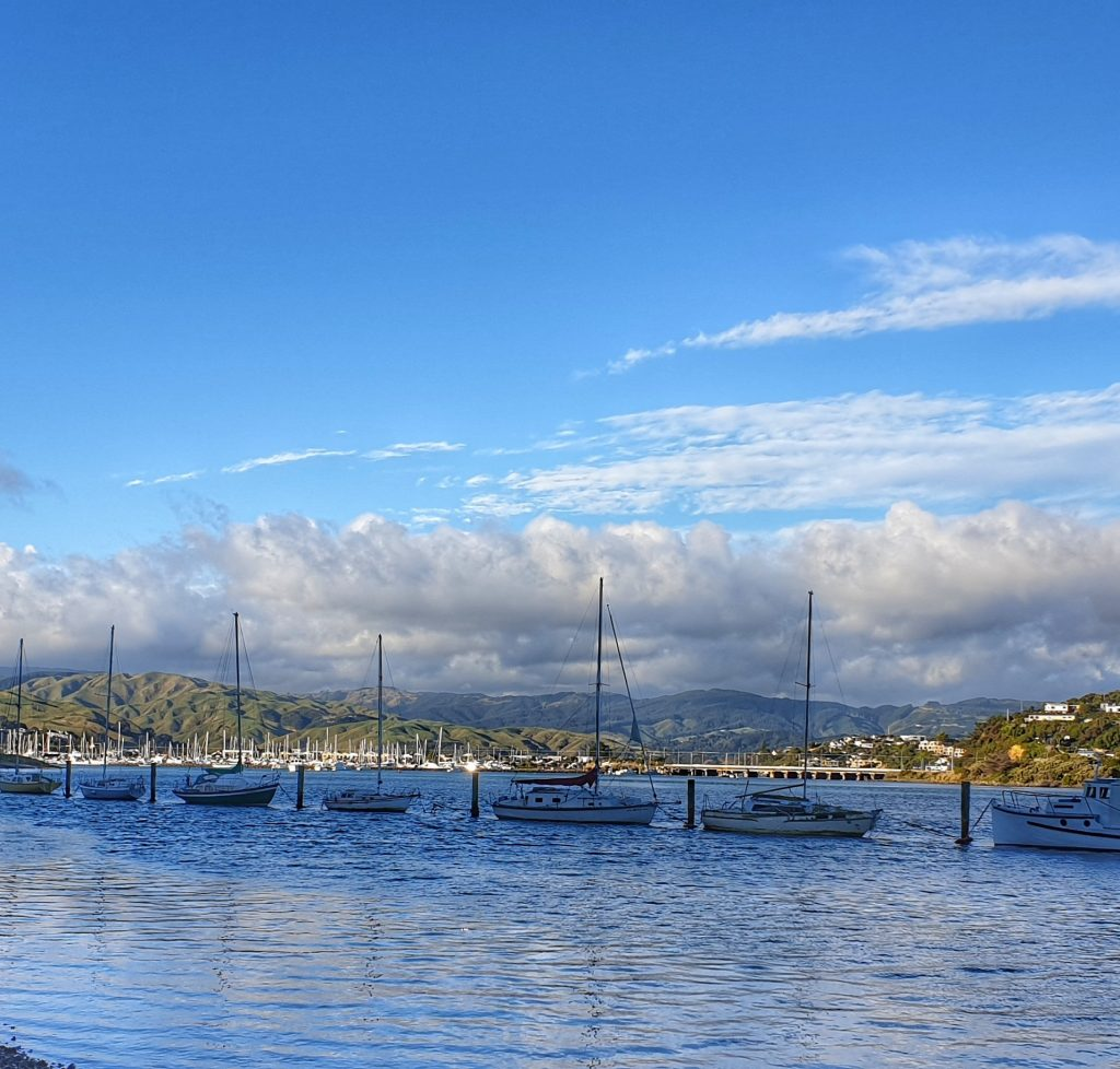 harbour with a row of yachts against a blue sky and gentle water