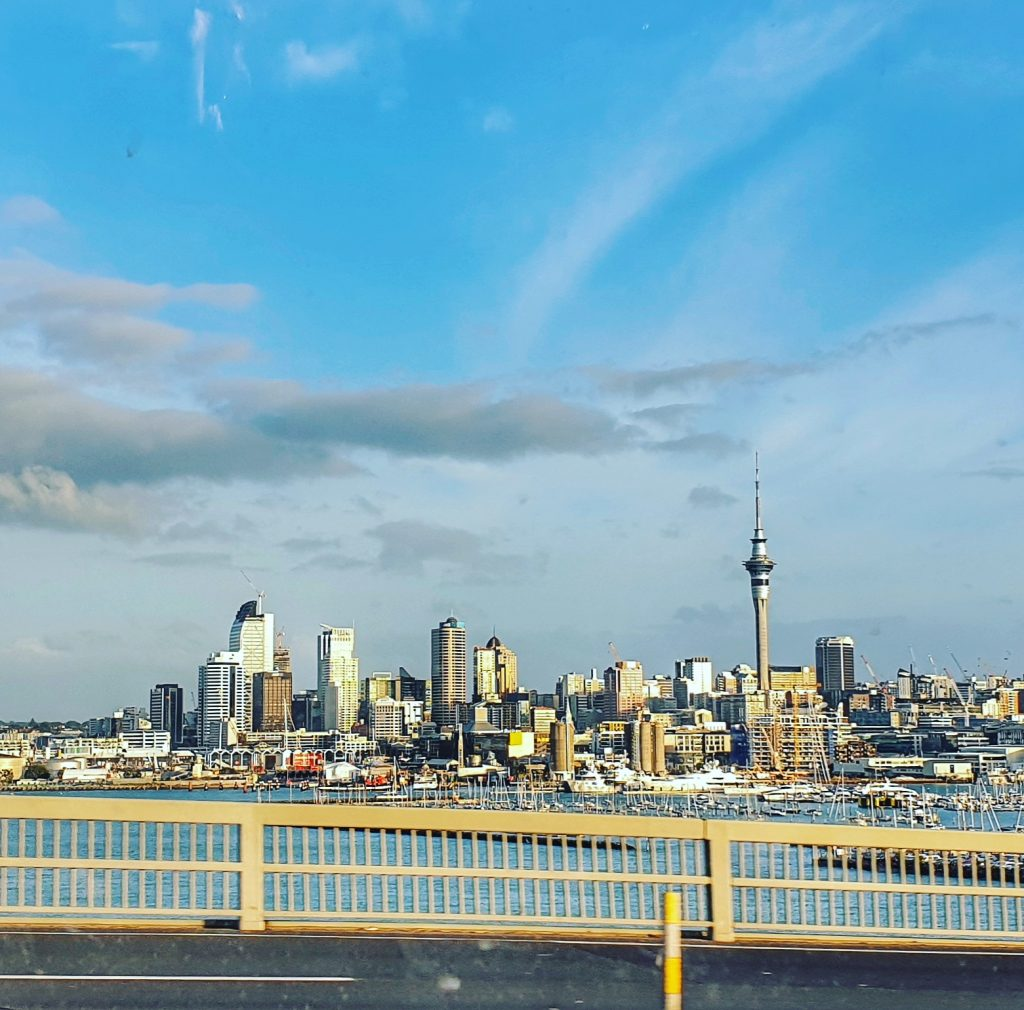 cityscape of Auckland from the harbour bridge