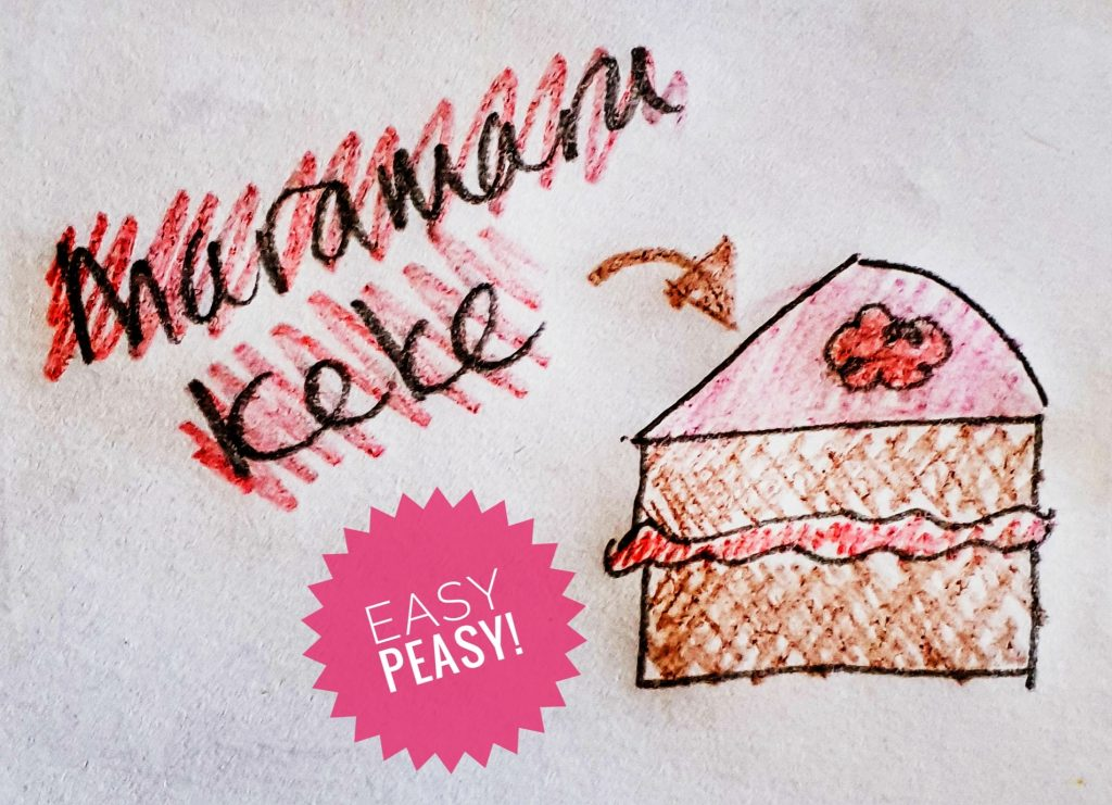 """drawing of a chocolate cakee with pink icing and filling with the words marama kekee which means a piece of cake in te reo Māori and the words """"easy peasy' in a pink circle"""
